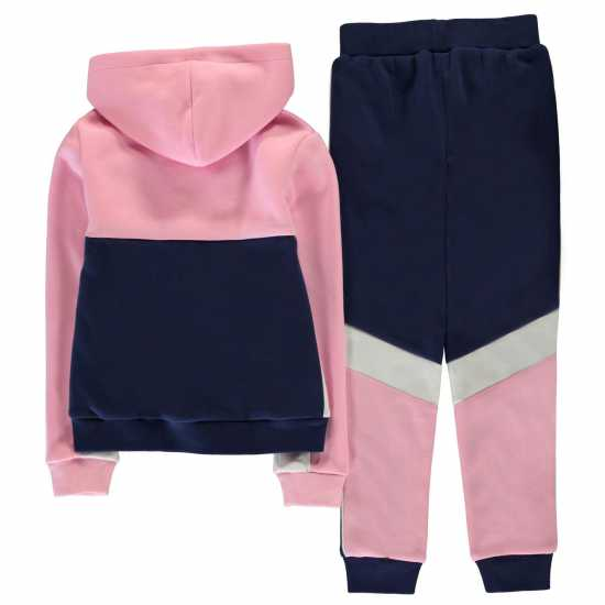 Donnay Sweat Tracksuit Junior Girls Navy/Pink Детски полар