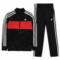 Adidas Tiberio Tracksuit Junior Boys Black/Red/Wht Детски спортни екипи