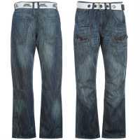 No Fear Карго Джинси Мъжки Belted Cargo Jeans Mens Mid Wash Мъжки дънки