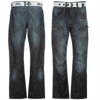 No Fear Карго Джинси Мъжки Belted Cargo Jeans Mens Dark Wash Мъжки дънки
