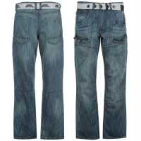 No Fear Карго Джинси Мъжки Belted Cargo Jeans Mens Light Wash Мъжки дънки