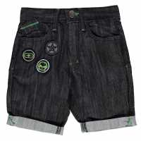 No Fear Момчешки Къси Гащи Badge Denim Shorts Junior Boys Black Мъжки дънки