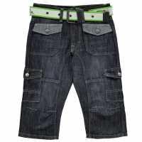 No Fear Момчешки Къси Гащи Belted Cargo Below The Knee Denim Shorts Junior Boys Dark Wash Детски къси панталони