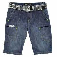 No Fear Момчешки Къси Гащи Belted Shorts Junior Boys Mid Wash Детски къси панталони