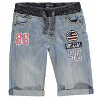 Soulcal Момчешки Къси Гащи Badge Shorts Junior Boys Light Wash Детски къси панталони