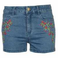 Golddigga Дамски Шорти Embellished Shorts Ladies Authentic Wash Дамски къси панталони
