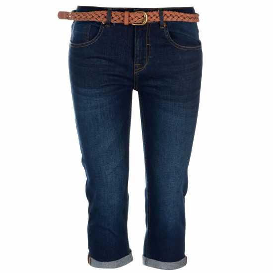 Soulcal Belt Crop Jeans Ladies Dark Wash Дамски дънки