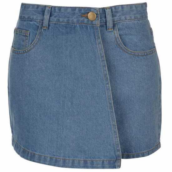 Golddigga Дамска Пола-Шорти Denim Skort Ladies Mid Wash Дамски къси панталони
