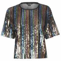Golddigga Sequin Top Ladies Black Дамски ризи и тениски