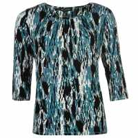 M Collection Printed Top Ladies Black - Teal Дамски поли и рокли