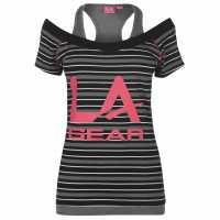 La Gear Дамска Тениска Multi Layer T Shirt Ladies Black Stripe Дамски тениски и фланелки