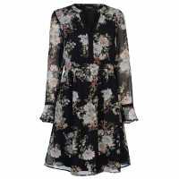 Full Circle Дамска Рокля Print Ruffle Dress Ladies Black Floral Дамски поли и рокли