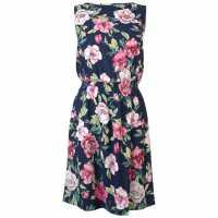 Jdy Smock Dress Navy w/ Flower Дамски поли и рокли