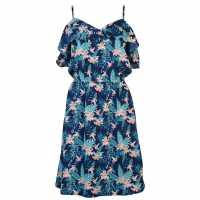 Golddigga Дамска Рокля Soulcal Print Dress Ladies Navy Print Дамски поли и рокли