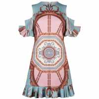 Ted Baker Norahe Versailles Cold Shoulder Frill Dress Teal Дамски поли и рокли