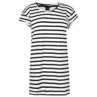 Miso Long Length Stripe Boyfriend T-Shirt Womens White/Black Дамски тениски и фланелки