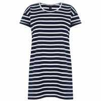 Miso Long Length Stripe Boyfriend T-Shirt Womens Navy/White Дамски тениски и фланелки