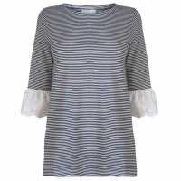 Rock And Rags Stripe Doily Sleeve Top Ladies Navy/White Дамски тениски и фланелки