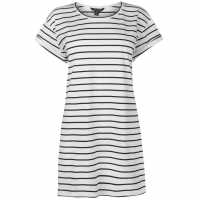 Miso Дамска Тениска Long Length Striped Boyfriend T Shirt Ladies White/Black Дамски тениски и фланелки