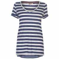 Soulcal Дамска Тениска V Neck Stripe T Shirt Ladies Denim M/ Wht Дамски тениски и фланелки