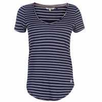 Soulcal Дамска Тениска V Neck Stripe T Shirt Ladies Navy/ Multi Дамски тениски и фланелки
