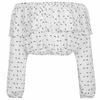 Glamorous Off The Shoulder Top White/Black Дамски ризи и тениски
