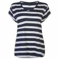 Miso Дамска Тениска V-Образно Деколте V Neck T Shirt Ladies Navy/White Дамски тениски и фланелки