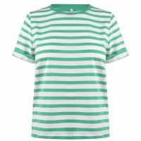 Only Дамско Горнище Къс Ръкав May Short Sleeve Top Ladies Green Stripe Дамски тениски и фланелки