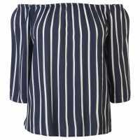 Jdy Off The Shoulder Top Navy/Wht Stirpe Дамски тениски и фланелки