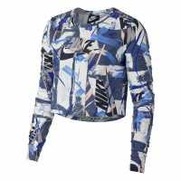 Nike Къс Дамски Потник Whatever Print Long Sleeve Crop Top Ladies Blue/White Дамски тениски и фланелки