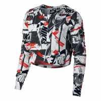 Nike Къс Дамски Потник Whatever Print Long Sleeve Crop Top Ladies Red/White Дамски тениски и фланелки