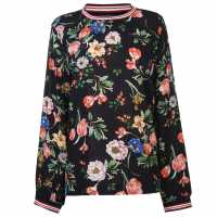 Rock And Rags Womens Ribbed Trim Blouse Black Floral Дамски ризи и тениски
