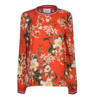 Rock And Rags Womens Ribbed Trim Blouse Orange Floral Дамски ризи и тениски
