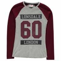 Lonsdale Дамска Блуза Raglan Long Sleeve T Shirt Ladies Grey M/Burg Дамски тениски и фланелки