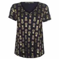 Biba Тениска Pineapple Foil T Shirt Black Дамски тениски и фланелки