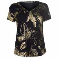 Biba Тениска Tropical Foil T Shirt Black Дамски тениски и фланелки