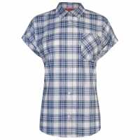 Lee Cooper Short Sleeve Casual Stripe Shirt Ladies Navy/Blue/Wht Дамски ризи и тениски