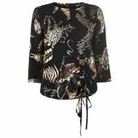 Usc Biba Jungle Foil Top Black Дамски ризи и тениски