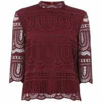 Biba Lace High Neck Top Burgundy Дамски ризи и тениски