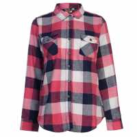 Lee Cooper Дамска Фланелена Риза Flannel Shirt Ladies Navy/White/Pink Дамски ризи и тениски