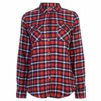 Lee Cooper Дамска Фланелена Риза Flannel Shirt Ladies Navy/Red/White Дамски ризи и тениски