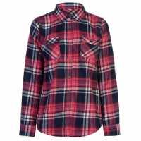 Lee Cooper Дамска Фланелена Риза Flannel Shirt Ladies Fuschia/Wht/Nvy Дамски ризи и тениски