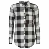 Firetrap Фланелена Риза Blackseal Flannel Shirt Black/White Дамски ризи и тениски