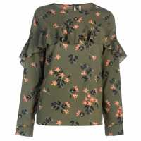 Rock And Rags Printed Frill Blouse Khaki Дамски ризи и тениски