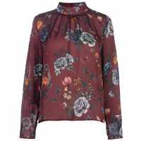 Full Circle Print Blouse Ladies Burgundy Дамски ризи и тениски