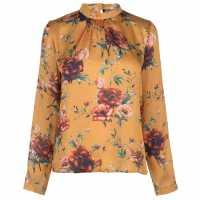 Full Circle Print Blouse Ladies Mustard Дамски ризи и тениски