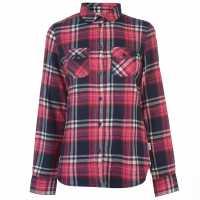 Lee Cooper Риза С Дълъг Ръкав Flannel Long Sleeve Shirt Ladies Fuschia/Wht/Nvy Дамски ризи и тениски