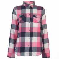 Lee Cooper Риза С Дълъг Ръкав Flannel Long Sleeve Shirt Ladies Navy/White Дамски ризи и тениски