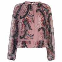 Glamorous Риза С Дълъг Ръкав Chiffon Long Sleeve Shirt Pink Palm Print Дамски ризи и тениски