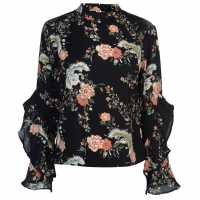 Full Circle Print Frill Blouse Ladies Black Дамски ризи и тениски